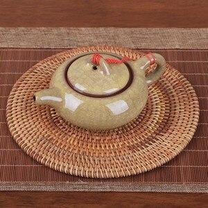 6 размеров, набор ковриков для плетения из ротанга, подставки для напитков, круглый коврик для горшков, настольная тарелка Porta Copos, салфетки д...