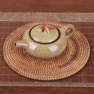 6 tamanho rattan tecer copo conjunto esteira bebida coasters round pot pad mesa prato porta copos placemat casa decoração isolamento artesanal