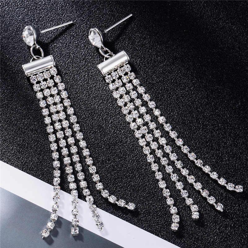 Korea 2019 kolczyki perłowe kobiece długie kolczyki podkreślające osobowość srebrny kolorowy platerowany panie biżuteria kolczyki tassel line