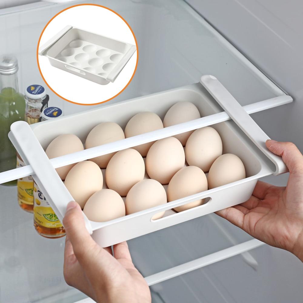 Organizador De Cocina Ajustable Organizador De Almacenaje Para Nevera De Cocina Estante De Refrigerador Cajón Extraíble Ahorrador De Espacio Soportes Y Estanterías De Almacenamiento Aliexpress