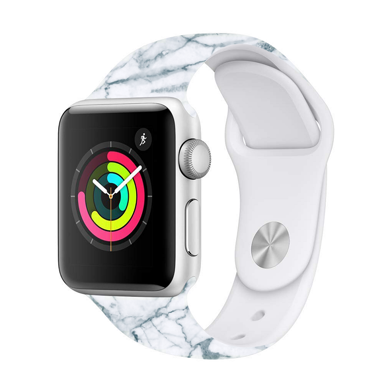 Soft Silica Marbled Sports Silicone Watch With Apple Watch Series5 4 3 2 1 42/ 38/ 40/44mm IWatch Smart Wrist Adjustable Strap