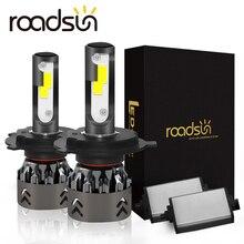 Roadsun h4 led h7 farol do carro cob chips mini tamanho h11 led h1 9005 hb3 9006 hb4 10000lm 60 w 6000 k auto lâmpada estilo do carro 12 v