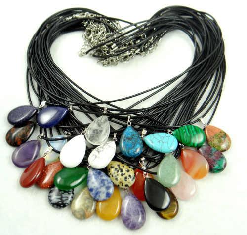 Batu Alam Kristal Kuarsa Turquoises Tiger Eye Lapis Opal Aventurine Tetesan Air Liontin untuk DIY Ljewelry Membuat Kalung