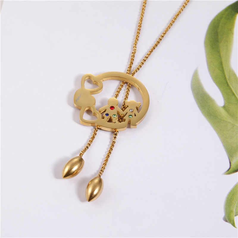 OUFEI, Геометрическая подвеска, ожерелье, серьги, набор, персонализированная подвеска, ювелирный набор из нержавеющей стали, модные ювелирные аксессуары