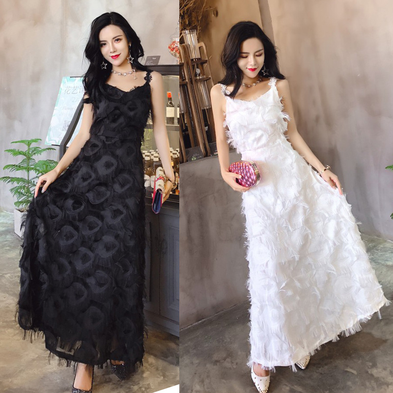 Photo Shoot 1689 # New Style Elegant Party Goddess Mid-length Beach Tassels Evening Gown Dress Strapped Dress
