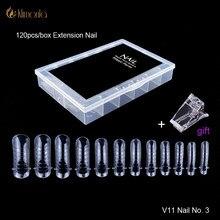 Uñas postizas transparentes de doble forma, sistema de uñas de cobertura completa, molde de construcción de Gel rápido, puntas de extensión de dedos, herramientas para gel ultravioleta No3, 120 Uds.