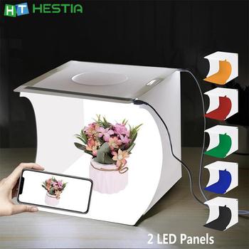 Oświetlenie LED wyróżnij przenośne fotografia Mini namioty Box Studio dla kamery Photobox 2 listwa świetlna LED 6 kolorów tło Softbox tanie i dobre opinie PULUZ CN (pochodzenie) 24x23x22 cm 288g PVC+EVA+non-woven Mini Tents Box Studio Cool white 5600 K LED panel (20 beads)