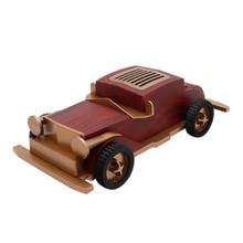 Disco U recargable forma de coche Estilo Vintage Radio FM con micrófono de madera Mini portátil AUX Entrada Bluetooth altavoz Decoración