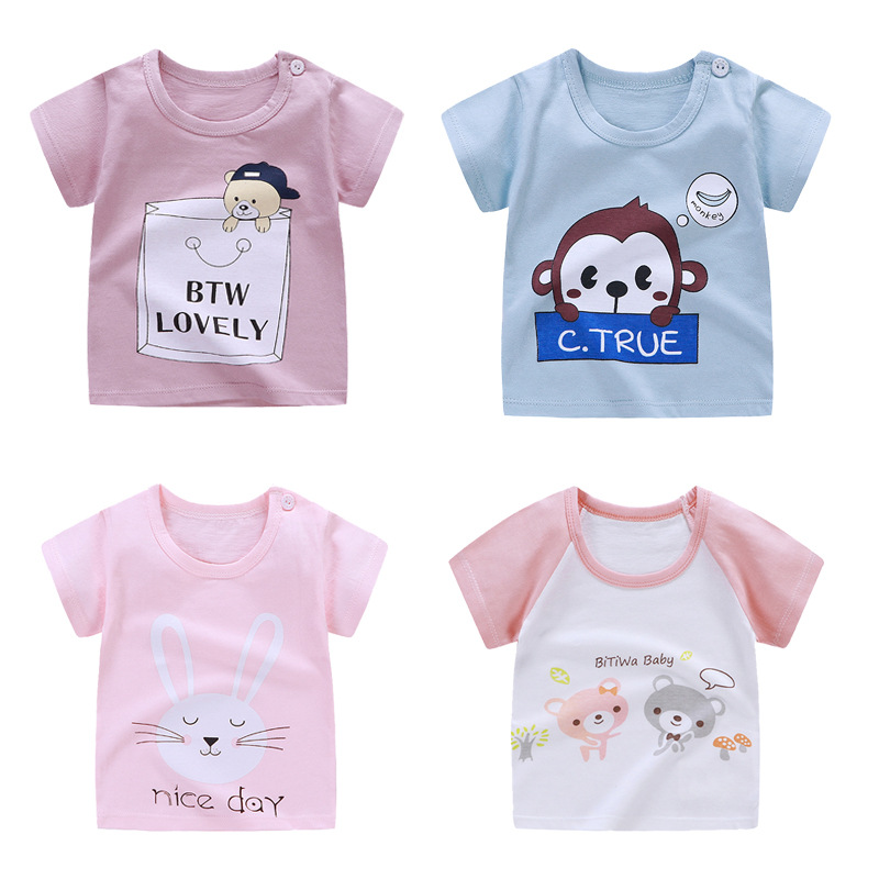 Newborn <font><b>Baby</b></font> T Shirts for Girls Boys <font><b>Tshirt</b></font> Summer Cotton Cartoon <font><b>Animal</b></font> Dinosaur Printing Tops T-shirt Children Clothes 1-6Y image