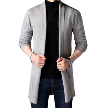 2019 Men Sweaters New Autumn Casual Solid Knitted Male Cardigan Designer Homme Sweater Mens Slim Long Coat