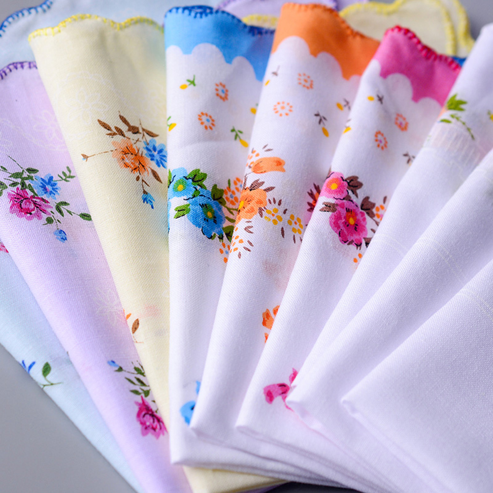 5PCS Vintage Cotton Handkerchief Girl Napkin Flower Printed Women Napkin Embroidered Butterfly Lace Flower Handkerchief