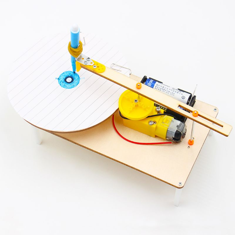 Creative DIY Electric Plotter Drawing Assembled Kits Children Handmade Graffiti Toy Science Apparatus Physics Experiment Set