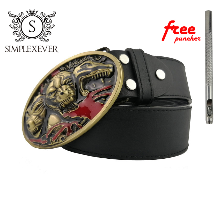Western Beast Belt Buckle Brass Animal Belt Buckle With Good Plating With PU Belt Drop Shipping