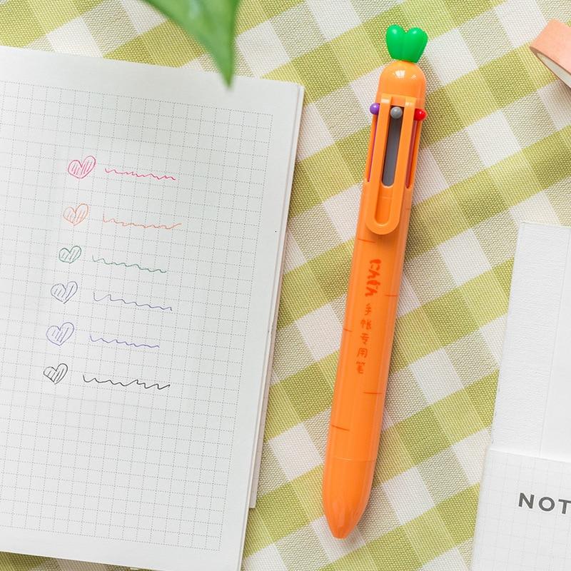 SIXONE Creative Cartoon Carrot 6 Color Ball Pen 0.7mm Student Writing Cute Color Signature Gel Pen Office School Stationery