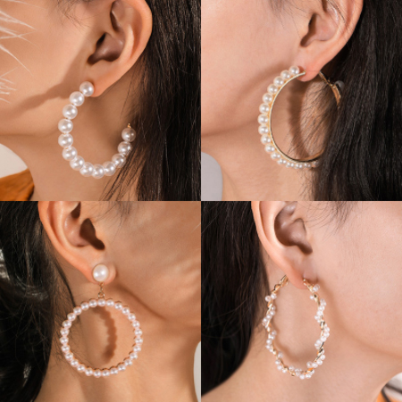 New Fashion Classic Pearl Hoop Earrings For Women Girls Unique Exaggerates Big Earrings Minimalist Elegant Wedding Jewelry Gift