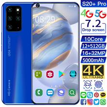 Global Version S20+ Pro 7.2Inch Smartphone Octa Core 5000mAh 12+512GB 16+32MP 4K Full Screen Face ID 4G LTE 5G Network Cellphone
