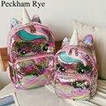 Милый мультяшный рюкзак для девочек  детские школьные сумки с блестками  рюкзак с единорогом  большие школьные сумки Kawaii  Детский Рюкзак ...