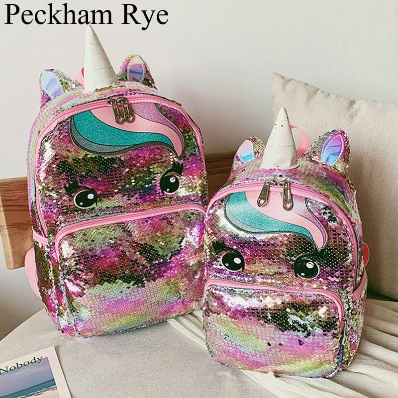 Cartoon Cute Backpack Girls Children's School Bags Sequins Unicorn Backpack Large Kawaii Schoolbags Kids Back Pack Mochila Mujer