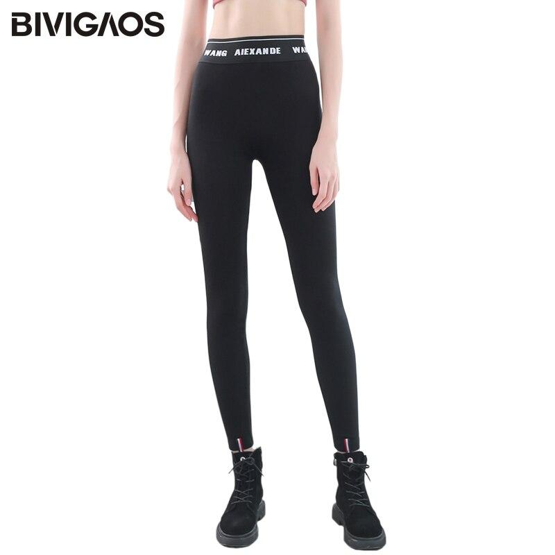 BIVIGAOS Spring New Thin Elastic Black Leggings Women Letters Waist Slimming Workout Leggings Magic Pants Casual Sports Leggings