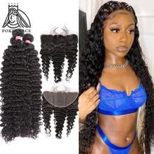 Бразильские волнистые волосы 30, 40 дюймов, 3, 4 пряди с фронтальной кружевной фронтальной 13X4, волнистые кудрявые двойные пучки и застежка