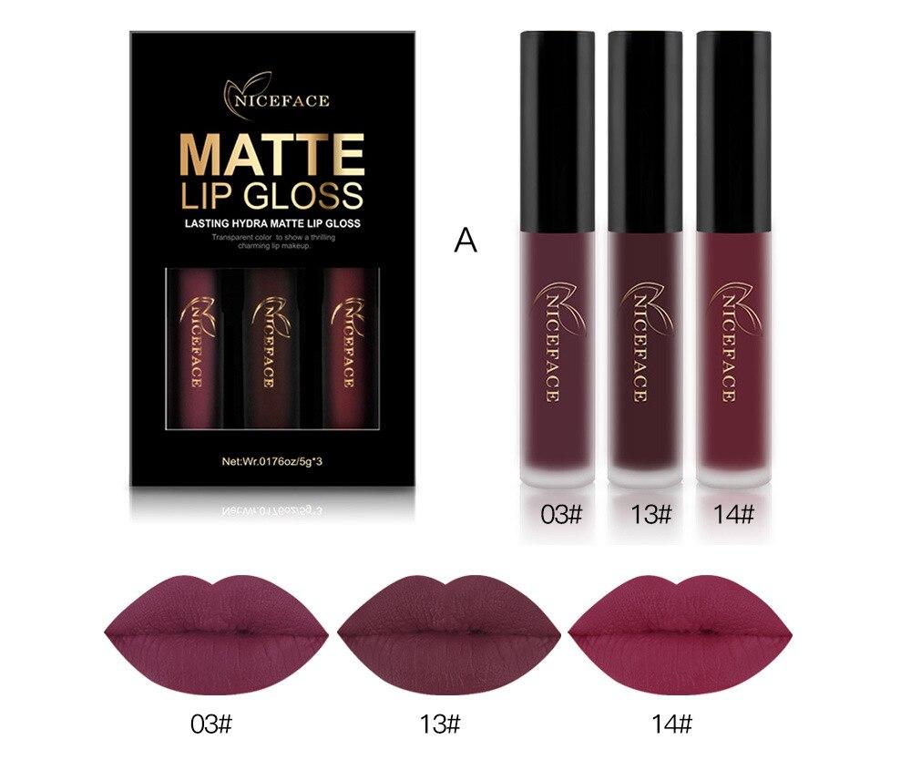 3PCS Liquid Lipstick Set Long-Lasting Matte Lip Stick Make Up Waterproof Velvet Batom Nude Sexy Lip Gloss Cosmetics Kit L17011