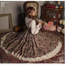Японские Женские ретро Длинные Макси шикарные стильные юбки весна осень кружева лоскутное плиссированные юбки Mori для девочек милая Лолита новинка юбка