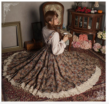 Japanese Womens Retro Long Maxi Chic Style Skirt Spring Autumn Lace Patchwork Pleated Mori Girl Skirt Sweet Lolita Novelty Skirt(China)
