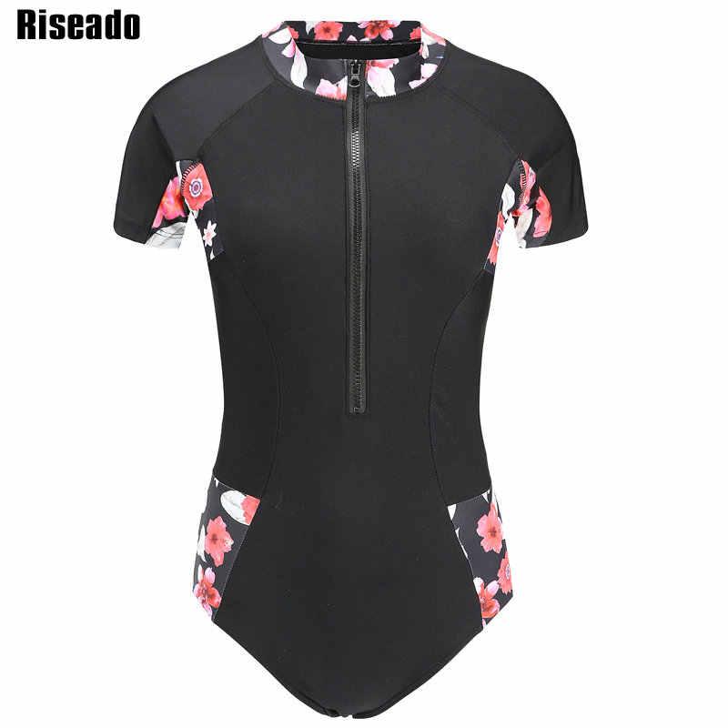 Riseado Olahraga One Piece Swimsuit Wanita Patchwork 2019 Baju Renang Wanita Lengan Pendek Ruam Penjaga Bunga Percetakan Pakaian Renang