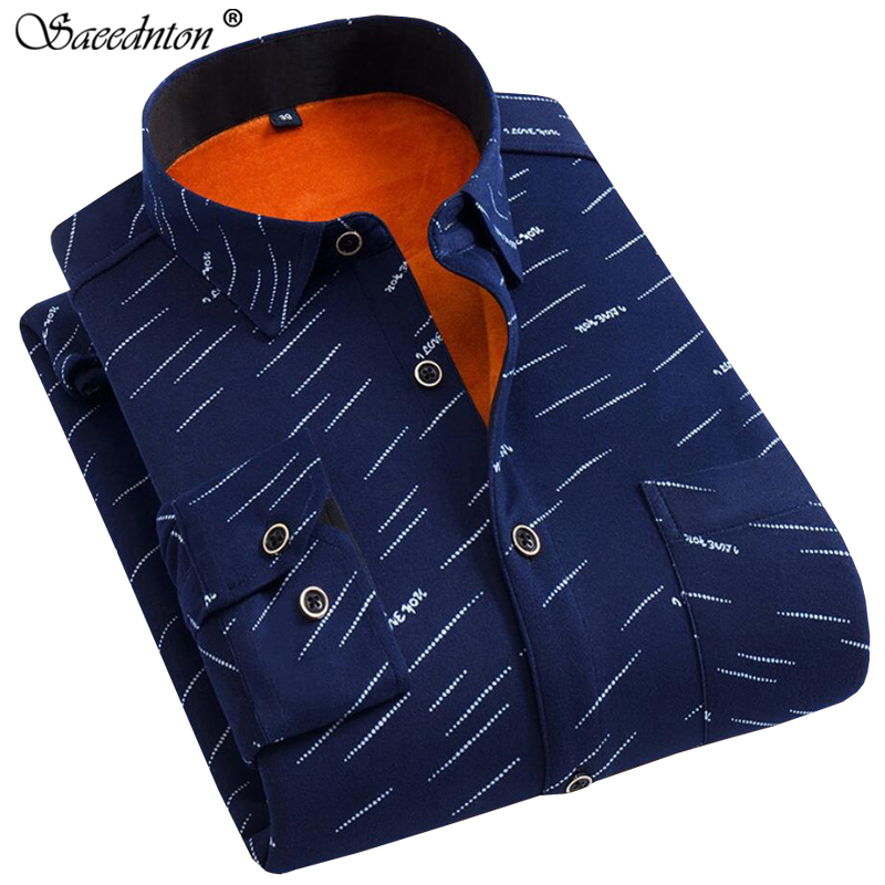 2019 Winter Men 39 s Cotton Polka Dot Thick Warm Plaid Dress Shirts Men Long Sleeve Casual Slim Fit Camisa Social Plus Velvet Shirt in Casual Shirts from Men 39 s Clothing