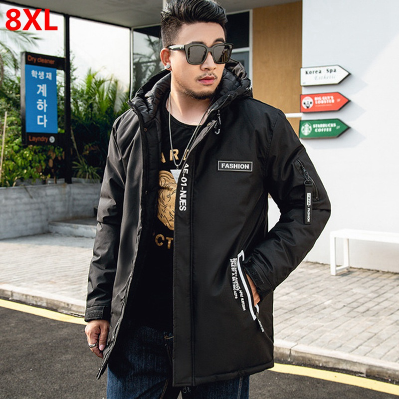 Winter Men's Cotton Coat Plus Size 7XL Men's Hooded Warm Cotton Clothing Jacket Oversized Men's  WADDED Jacket