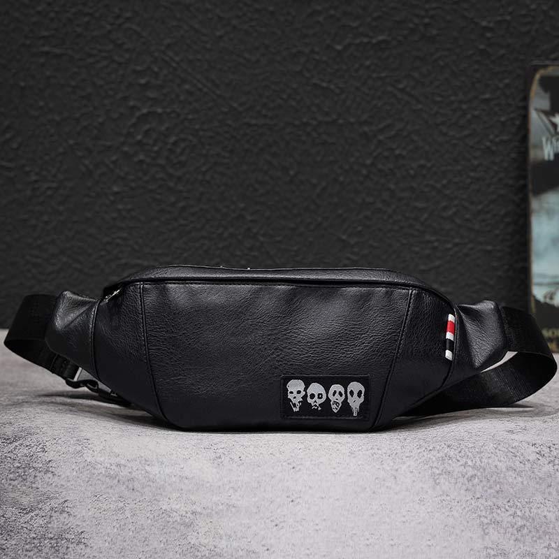 New Skull Men's Waist Bag Brand Fanny Pack Cowhide Chest Bag Men Black Belt Pack Banana Bags High Capacity Kidney Bag Shoulder