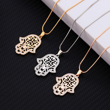 Fatima Hand Necklace Women Jewelry Silver Gold Plated Vintage Lucky Czech Crystal Hamsa Necklaces & Pendants XL07258