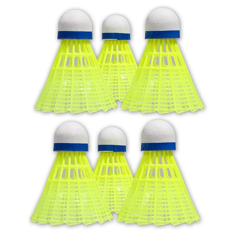 Hot HG-6Pcs Super Durable And Light Plastic Nylon Badminton Training Ball Sports Accessories
