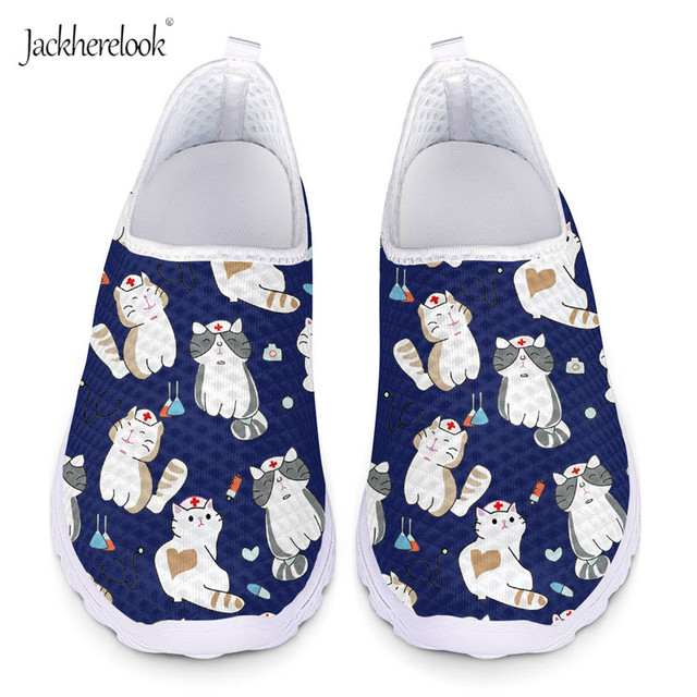 Jackherelook Cute Nursing Cat Pattern Casual Flats Women Summer Sneaker Breathable Lightweight Beach Water Shoes for Ladies Girl 1