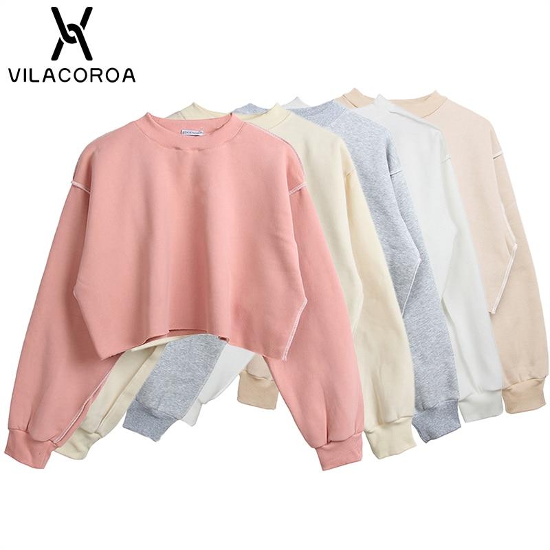 9 Colors Sweatshirts Women Round Neck Long Sleeve Velvet Warm Sweatshirts Women Female Casual Pullover Tops Crop Top Sudadera