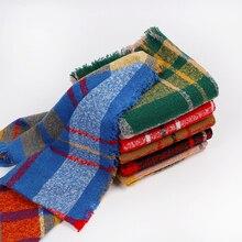 Клетчатый шарф бесконечности для женщин Модный шарф вязаный уютный теплый зимний осенний шарф с кисточками Женский кашемировый