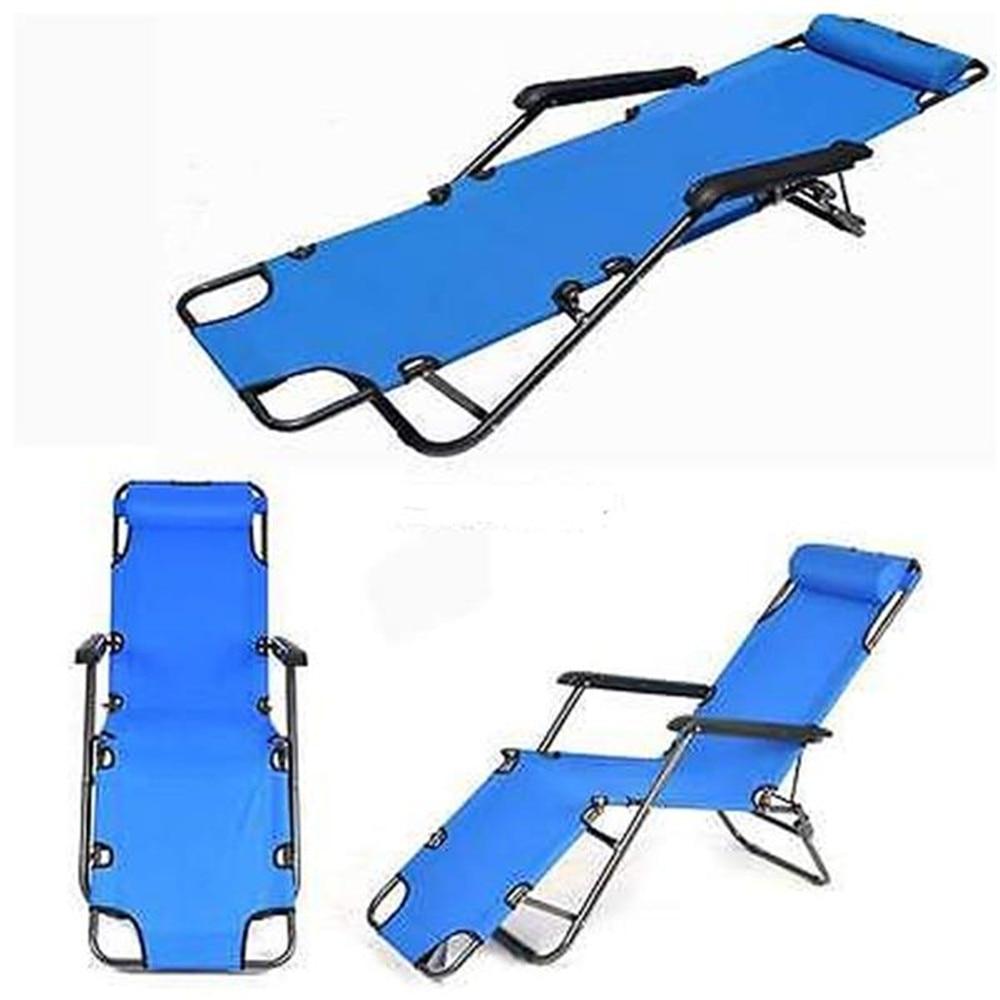 RHC-202 Portable Dual Purposes Extendable Folding Reclining Chair Blue Outdoor Garden Chair