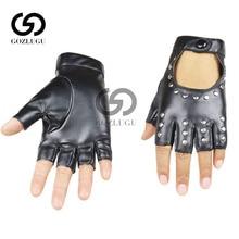 Women Rivets  Leather Gloves Semi-Finger Mens Rivet Belt PU Sexy Cutout Fingerless