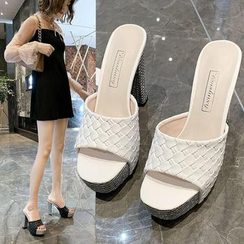 hoes Women Sandals Summer plus size super leather High Heel sandals Slippers Sexy Fish Mouth Toe Platform High Heel faux leather mini heel sandals