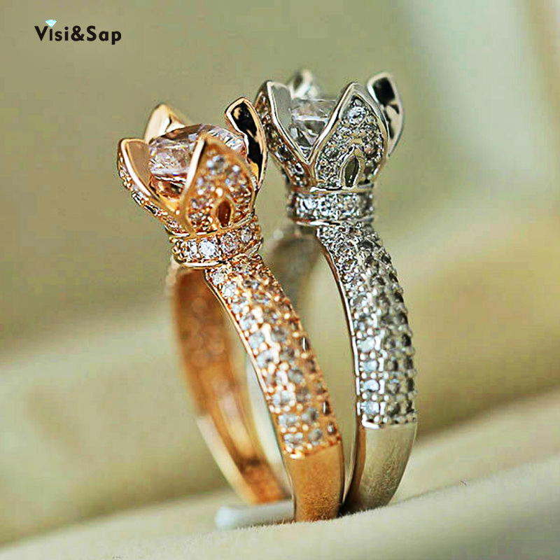 Visisap Classic 4 Claw Wedding Rings For Women Fashion Full Stone