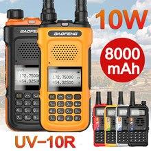 2021 novo baofeng UV-10R walkie talkie 10w 8000mah transceptor de banda dupla 136-174 & 400-520mhz portátil rádio presunto tipo c