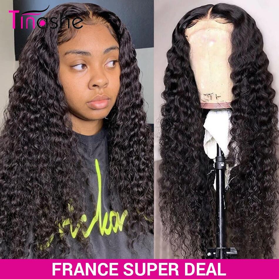 Парик Tinashe с глубокой волной, бразильские парики из человеческих волос для женщин, 200 плотный парик на сетке, парик с неповрежденной кутикуло...