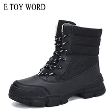 E TOY WORD Women Boots waterproof winter shoes woman ankle snow Down warm boots Thick Fur women large size 42