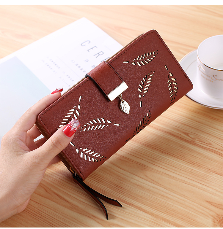 2020 New Korean Women Long Wallet Fashion Clutch Bag Hollow Leaf Zipper Buckle Wallets Card Holder Nice Small Purse Bags