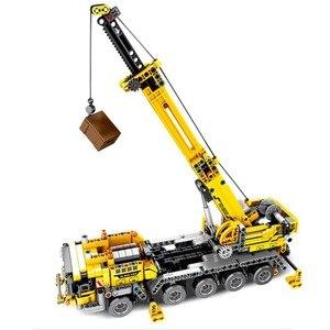 Image 2 - SEMBO Fit Technic мобильный кран создатель экспертных идей набор кирпичей 665 шт. городской инженер Краб строительные блоки игрушки Детский подарок