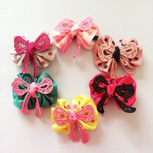 1 Pcs/lot New Cute Girls Hairpin Ribbon Bow With Flowers Hair Clips Dot Printed Rayon Material Accessories