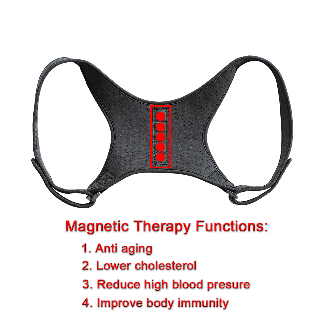 Image 4 - Magnetic Therapy Back Brace Posture Corrector for Men and Women Under Clothes Back Pain Relife Shoulder Support Belt W1003SHC-in Braces & Supports from Beauty & Health