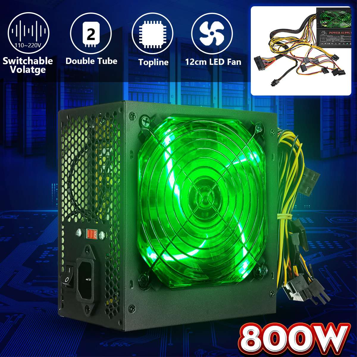 800W 110~220V PC Power Supply 12cm LED Silent Fan With Intelligent Temperature Control Intel AMD ATX 12V For Desktop Computer