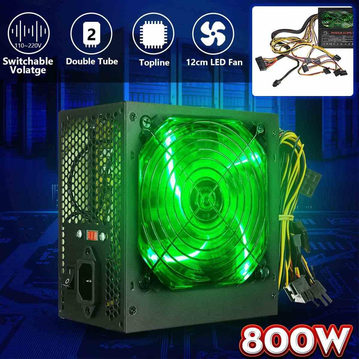 800W 110 ~ 220V moc PC zasilanie 12cm LED cichy wentylator z inteligentna temperatura sterowania Intel AMD ATX 12V dla komputera stacjonarnego