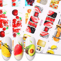 12pcs Summer Fruit Water Decals Lemon Strawberry Designs Nail Stickers Wraps Slider Decoration
